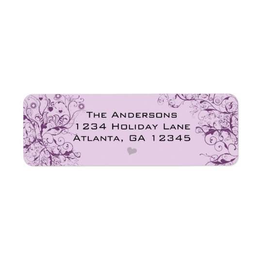 Purple Swirls Love Birds Return Labels