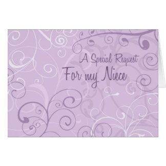 Purple Swirls Niece Flower Girl Invitation Card