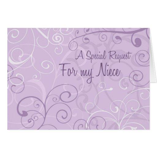 Purple Swirls Niece Flower Girl Invitation Card