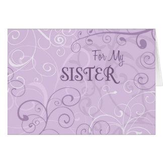 Purple Swirls Sister Bridesmaid Invitation Card
