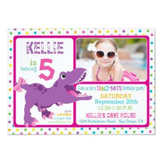 Purple T-Rex Dinosaur Polka Dot Birthday 11 Cm X 16 Cm Invitation Card