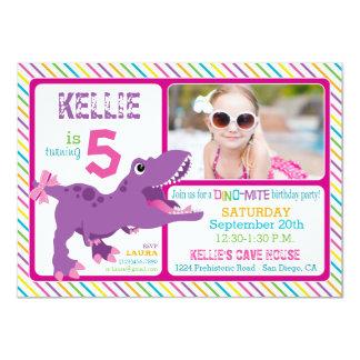 Purple T-Rex Dinosaur Stripe Birthday 11 Cm X 16 Cm Invitation Card