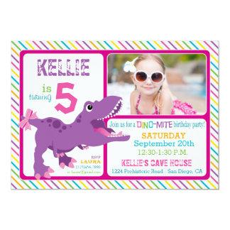 Purple T-Rex Dinosaur Stripe Birthday 13 Cm X 18 Cm Invitation Card