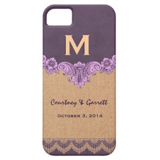Purple Tan Burlap Vintage Monogram Wedding V30Q iPhone 5 Case