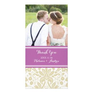 Purple Tan Damask Thank You Wedding Photo Cards