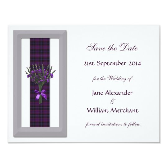 Purple Tartan & Heather Save the Date Announcement