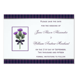 Purple Tartan Plaid and Thistle Save the Date 9 Cm X 13 Cm Invitation Card