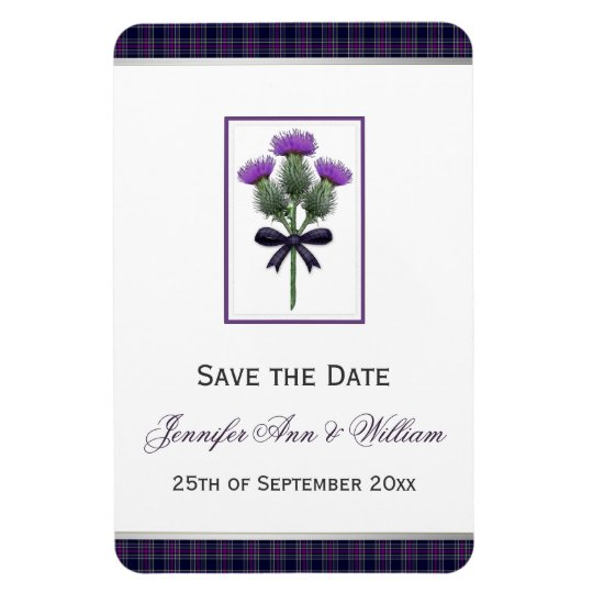 Purple Tartan Plaid and Thistle Save the Date Rectangular Photo Magnet