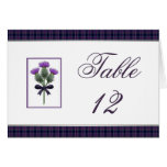Purple Tartan Plaid and Thistle Table Number Greeting Card
