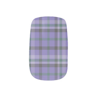 Purple Tartan Plaid Patterned Mani  - Nail Stickers