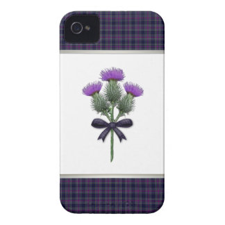 Purple Tartan Plaid & Scottish Thistle Flowers iPhone 4 Case-Mate Case