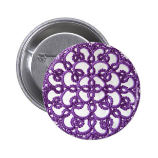 Purple Tatted Lace 6 Cm Round Badge
