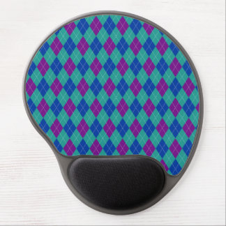 Purple Teal and Blue Argyle Print Gel Mouse Pad