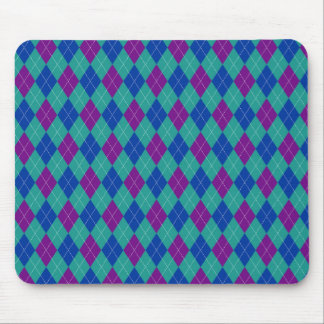Purple Teal and Blue Argyle Print Mouse Pad