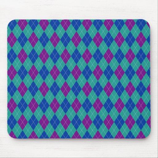 Purple Teal and Blue Argyle Print Mousepads