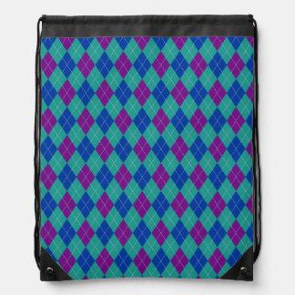 Purple Teal and Blue Argyle Print Cinch Bags