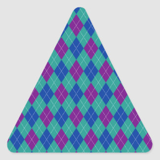 Purple Teal and Blue Argyle Print Triangle Sticker