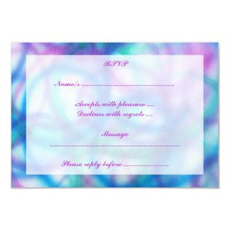 Purple, Teal and Blue RSVP. 9 Cm X 13 Cm Invitation Card