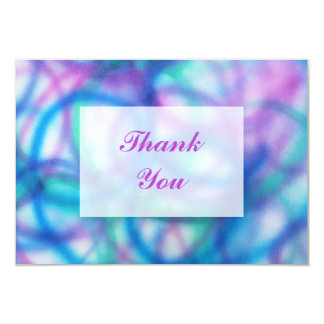 Purple, Teal and Blue Thank You Message 9 Cm X 13 Cm Invitation Card