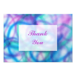 Purple Teal and Blue Thank You Message Personalized Invitation