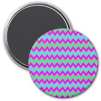 Purple Teal and Turquoise Aztec Chevron Stripes Magnet