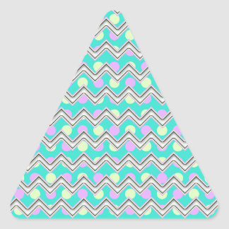 Purple teal and yellow polka dotted chevron triangle sticker