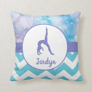 Purple Teal Aqua Gymnastics Throw Pillow