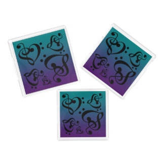Purple Teal Bass Treble Clef Hearts Music Notes Acrylic Tray