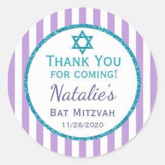 Purple Teal Bat Mitzvah Thank You Favor Tags Round Sticker
