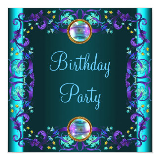 Purple Teal Blue Birthday Party Card
