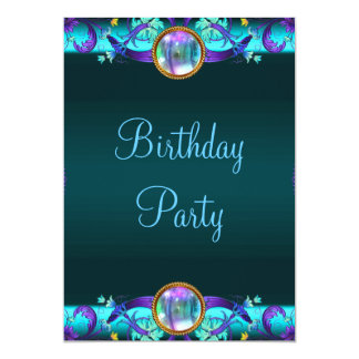 Purple Teal Blue Birthday Party Personalized Invites