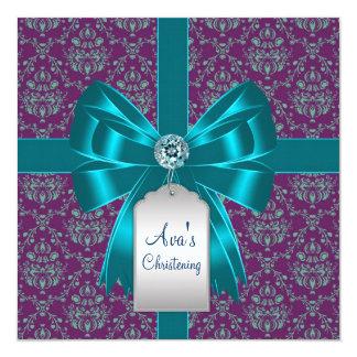 Purple Teal Blue Damask Baby Baptism Christening 13 Cm X 13 Cm Square Invitation Card