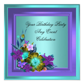 Purple Teal Blue Floral Elegant Party 13 Cm X 13 Cm Square Invitation Card