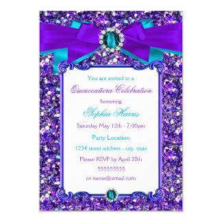 Purple Teal Blue Glitter Jewel Bow Quinceanera 13 Cm X 18 Cm Invitation Card