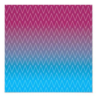 Purple Teal Blue Gradient Color Chevron Pattern 13 Cm X 13 Cm Square Invitation Card
