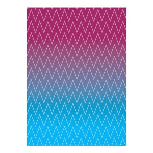 Purple Teal Blue Gradient Color Chevron Pattern Invitation
