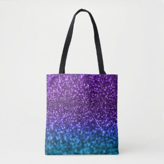 Purple Teal Blue Ombre Glitter Bokeh Tote Bag