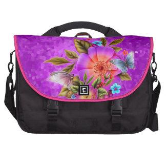 Purple Teal Blue Pink Butterfly Floral Flowers Laptop Messenger Bag