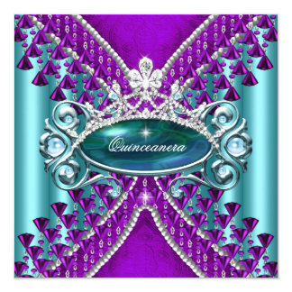 Purple Teal Blue Quinceanera 15th Birthday Party Card