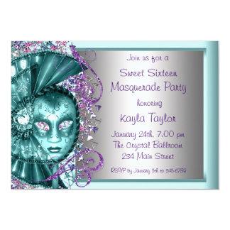 Purple Teal Blue Sweet Sixteen Masquerade Party 13 Cm X 18 Cm Invitation Card