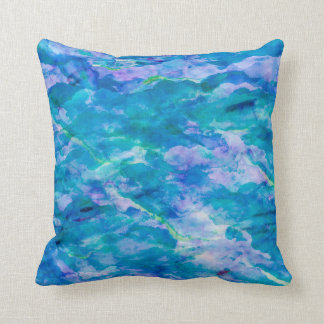 Purple Teal Blue Watercolor Texture Pattern Throw Pillow