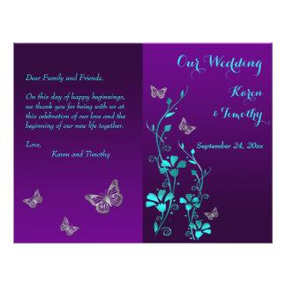 Purple Teal Butterfly Floral Wedding Program 21.5 Cm X 28 Cm Flyer