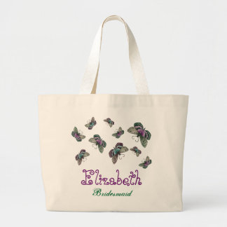 Purple Teal Butterfly Personalized Name Bridesmaid Jumbo Tote Bag
