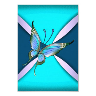 Purple Teal Butterfly RSVP Save the Date 9 Cm X 13 Cm Invitation Card