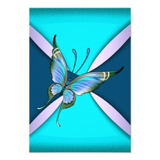 Purple Teal Butterfly RSVP Save the Date Invitation