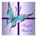 """Purple Teal Butterfly Sweet 16 Birthday Party 5.25"""" Square Invitation Card"""