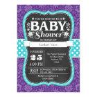 Purple Teal Chalkboard Floral Baby Shower Invite