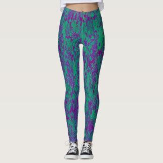 Purple Teal Contemporary Pattern Leggings