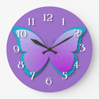 Purple & Teal Damask Butterfly Large Clock