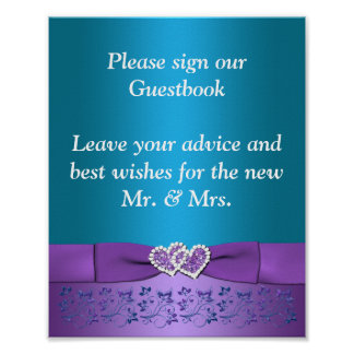 Purple, Teal Floral Hearts Wedding Sign Poster